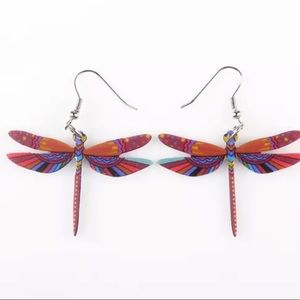 BOGO! Red Dragonfly Acrylic Earrings Boho Insect